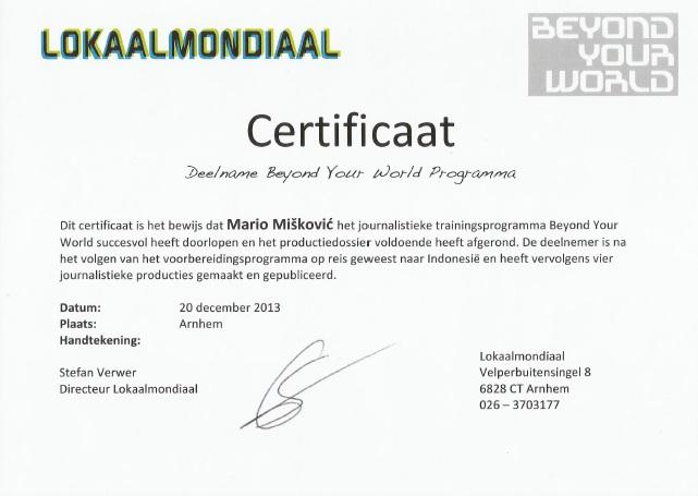 Certificaat Lokaalmondiaal
